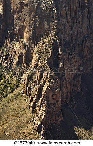 Stock Photography of Steep rock cliff wall in Zion National Park.