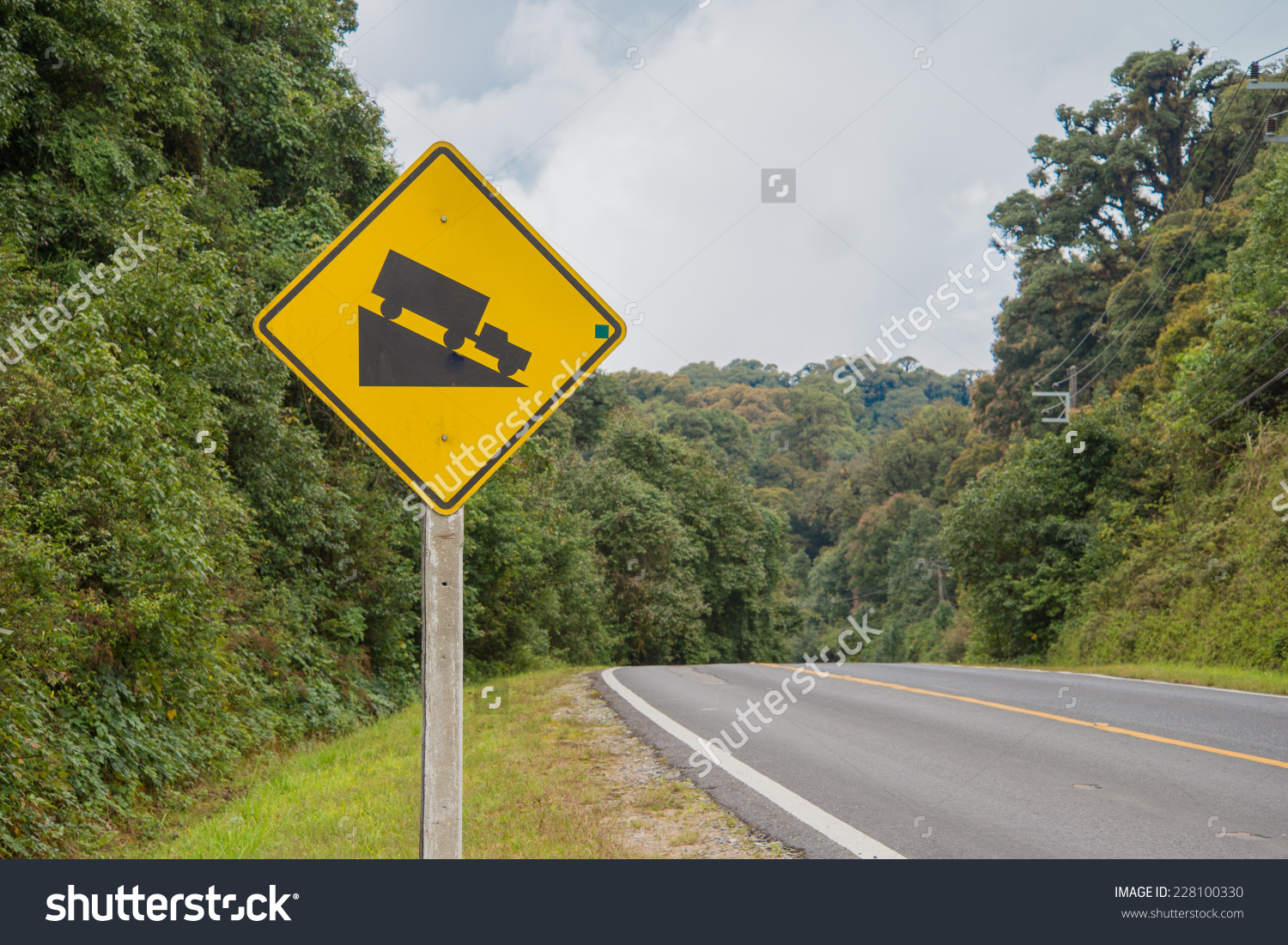 Steep Hill Road Signs Clip Art.