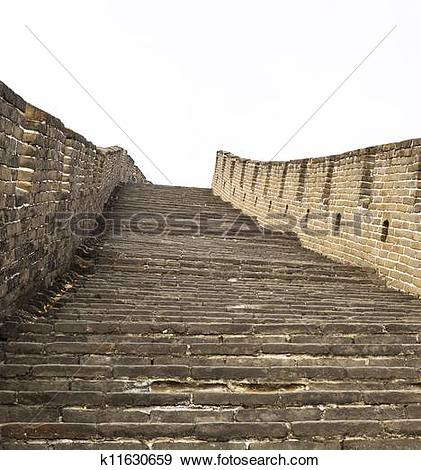 Stock Photograph of Large and Steep Staircase at the Great Wall.
