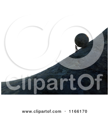 Clipart of a 3d Man Pushing a Boulder up a Steep Hill over White.