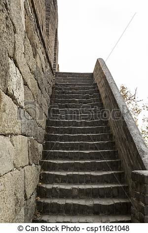 Stock Photo of Steep Stairway to the Great Wall in China.