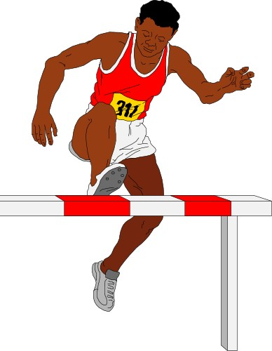 Man Jumping A Hurdle In The Steeplechase Steeplechase Running Race.