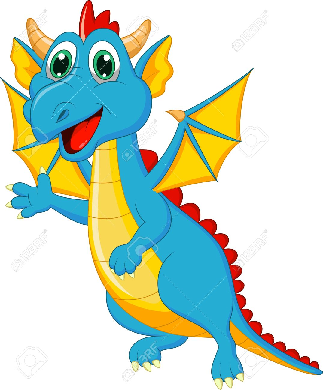 Cute Baby Dragon Cartoon Royalty Free Cliparts, Vectors, And Stock.