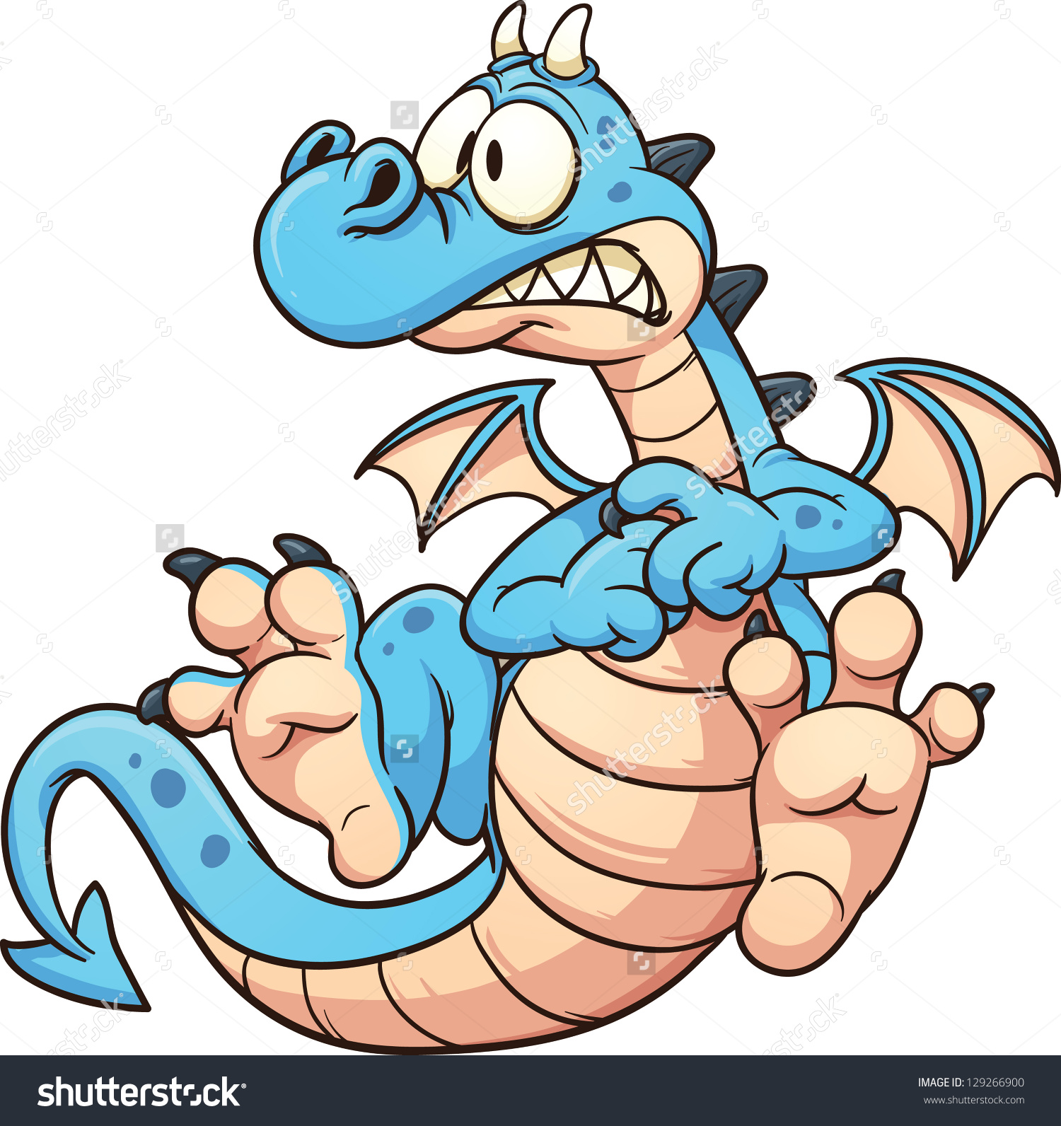Cartoon Scared Blue Dragon Vector Clip Stock Vector 129266900.