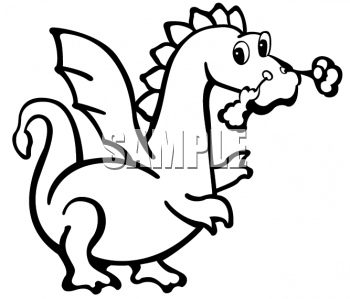 Black and White Clipart Picture of a Cute Dragon.