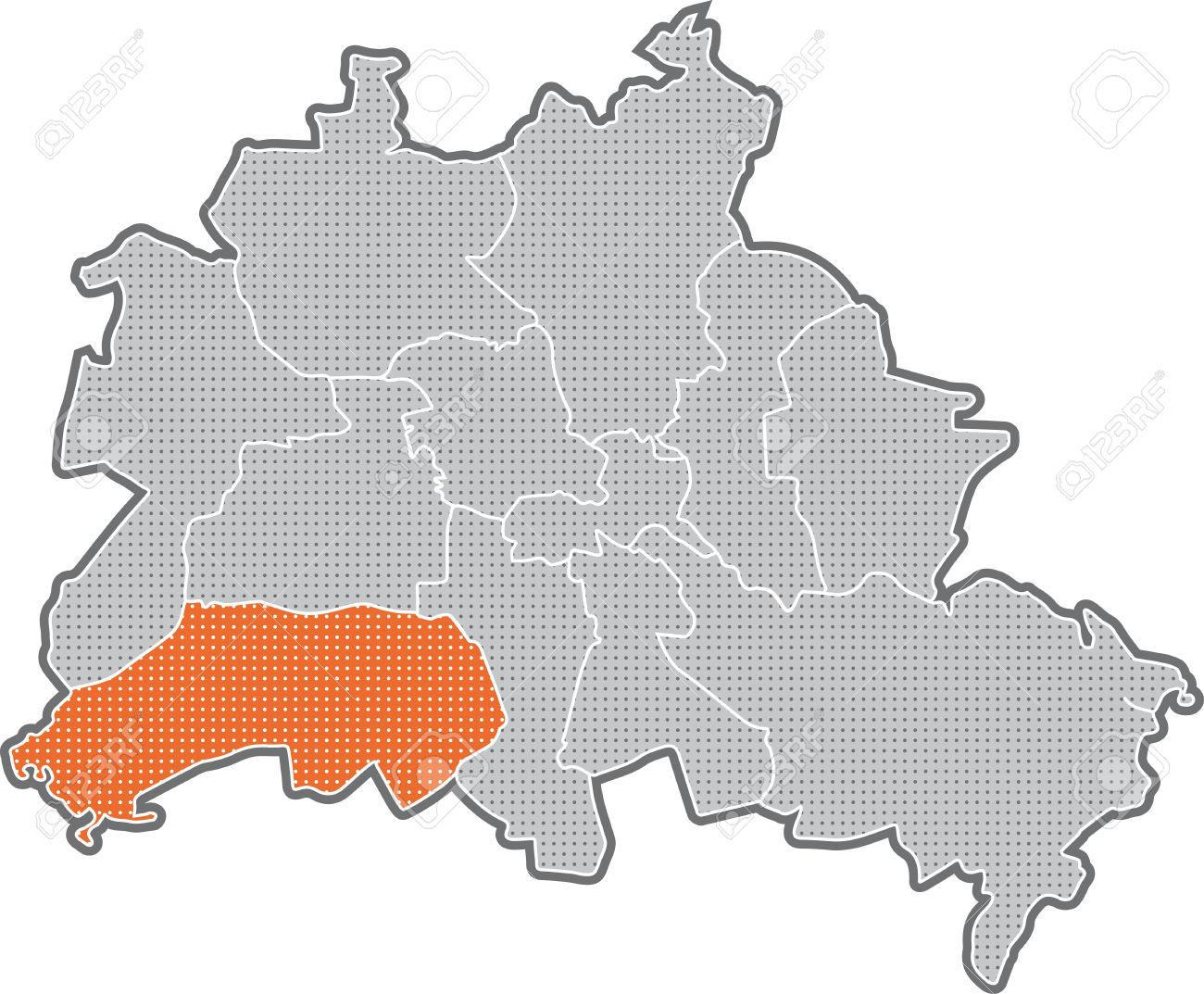 Map Of Berlin, Focus On District Steglitz Zehlendorf Stock Photo.