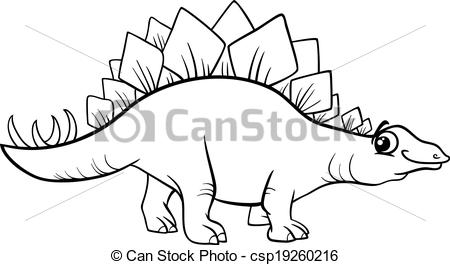 Vector Clip Art of stegosaurus dinosaur coloring page.