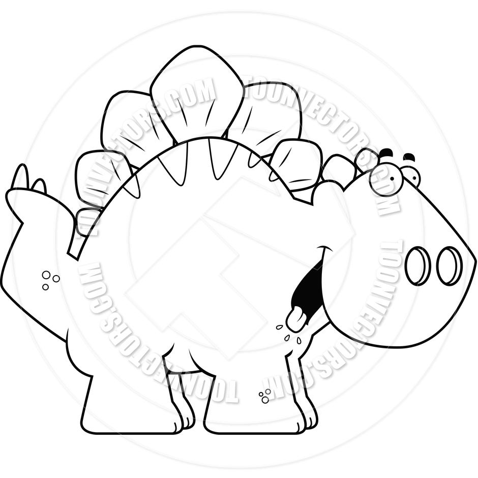 Cartoon Stegosaurus Dinosaur Hungry (Black and White Line Art) by.