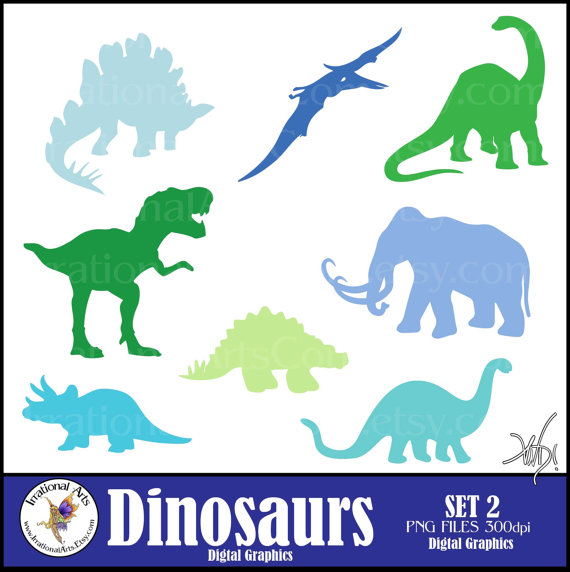 INSTANT DOWNLOAD Dinosaur set 2 silhouettes 8 digital clipart png.