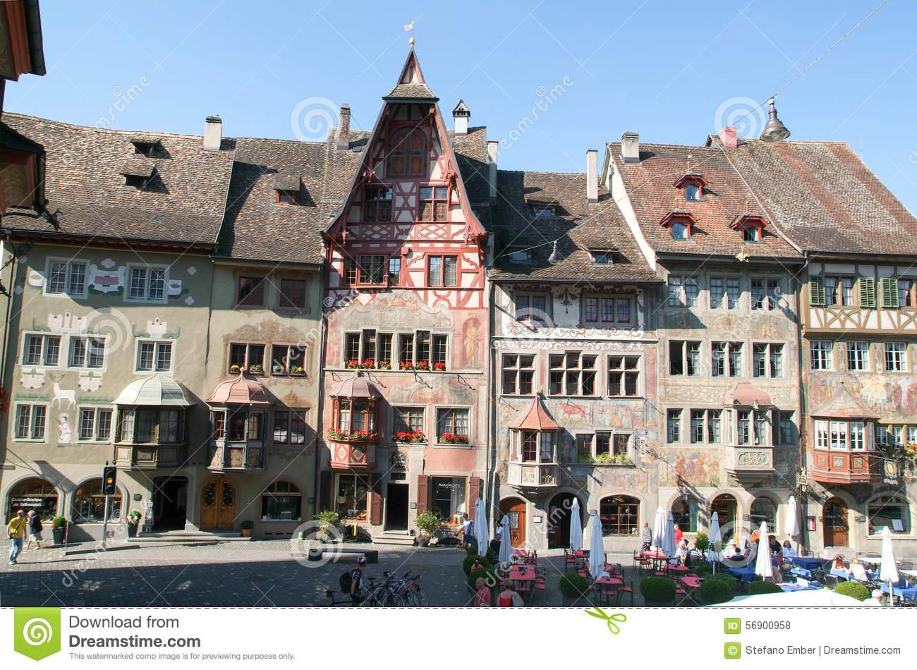 The Beautiful Medieval Town Of Stein Am Rhein On Switzerland.