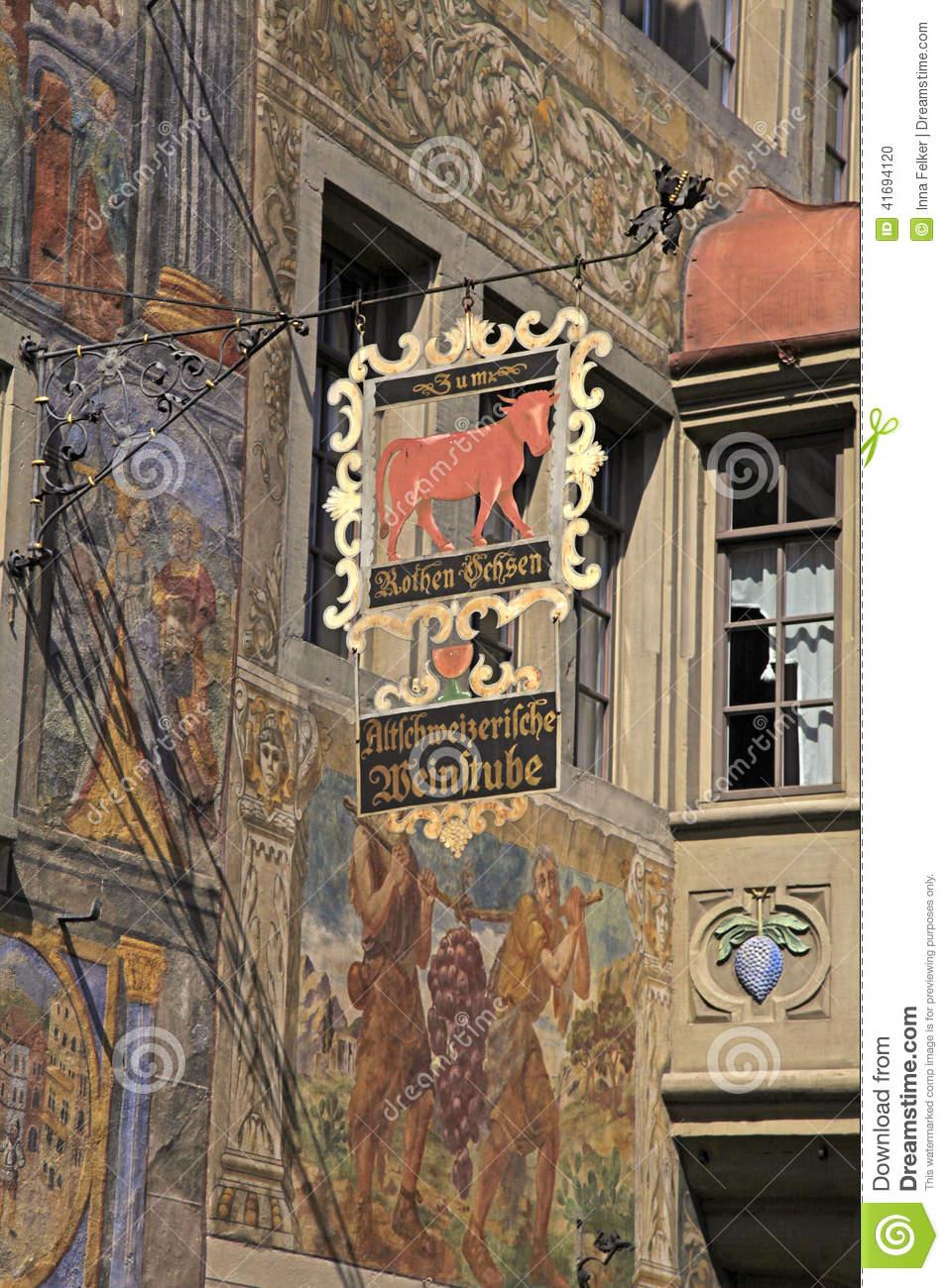 Signboard Of Restaurant, Stein Am Rhein, Switzerland Editorial.