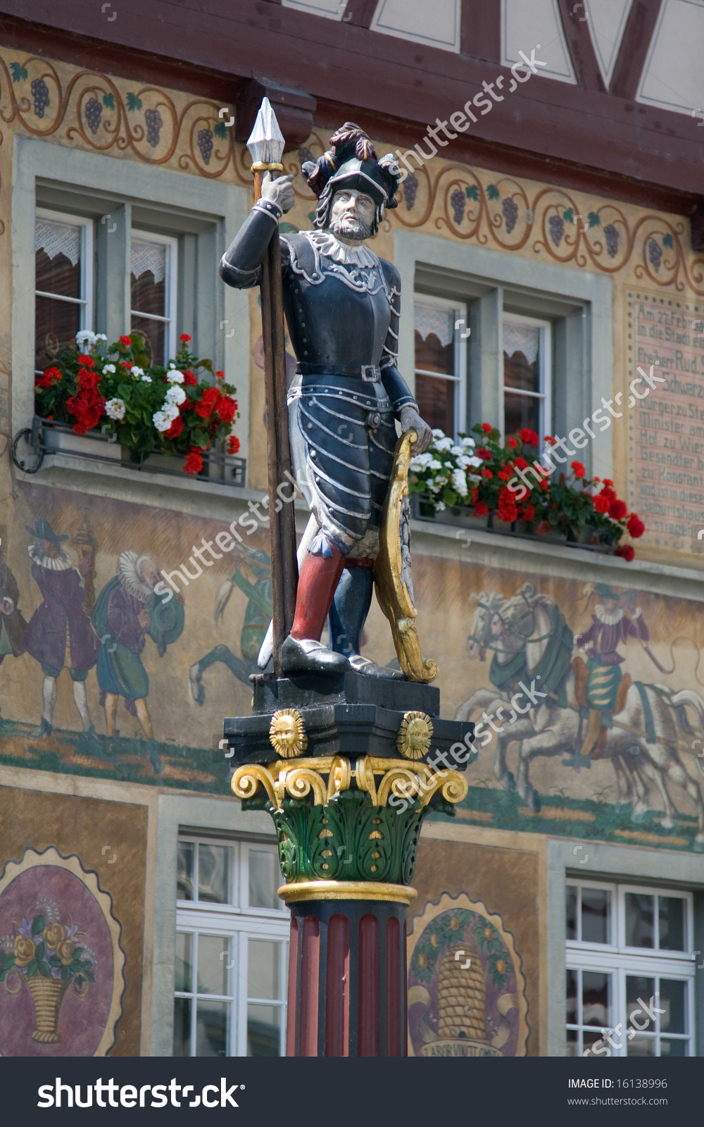 Knight Fountain Statue In Stein.