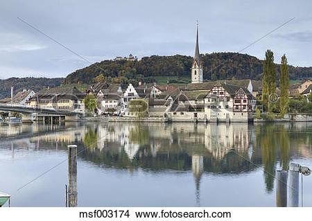 Stock Photo of Switzerland, Thurgau, old town Stein am Rhein in.