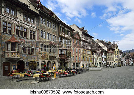 """Stock Photo of """"Historic centre with painted facades, Stein am."""