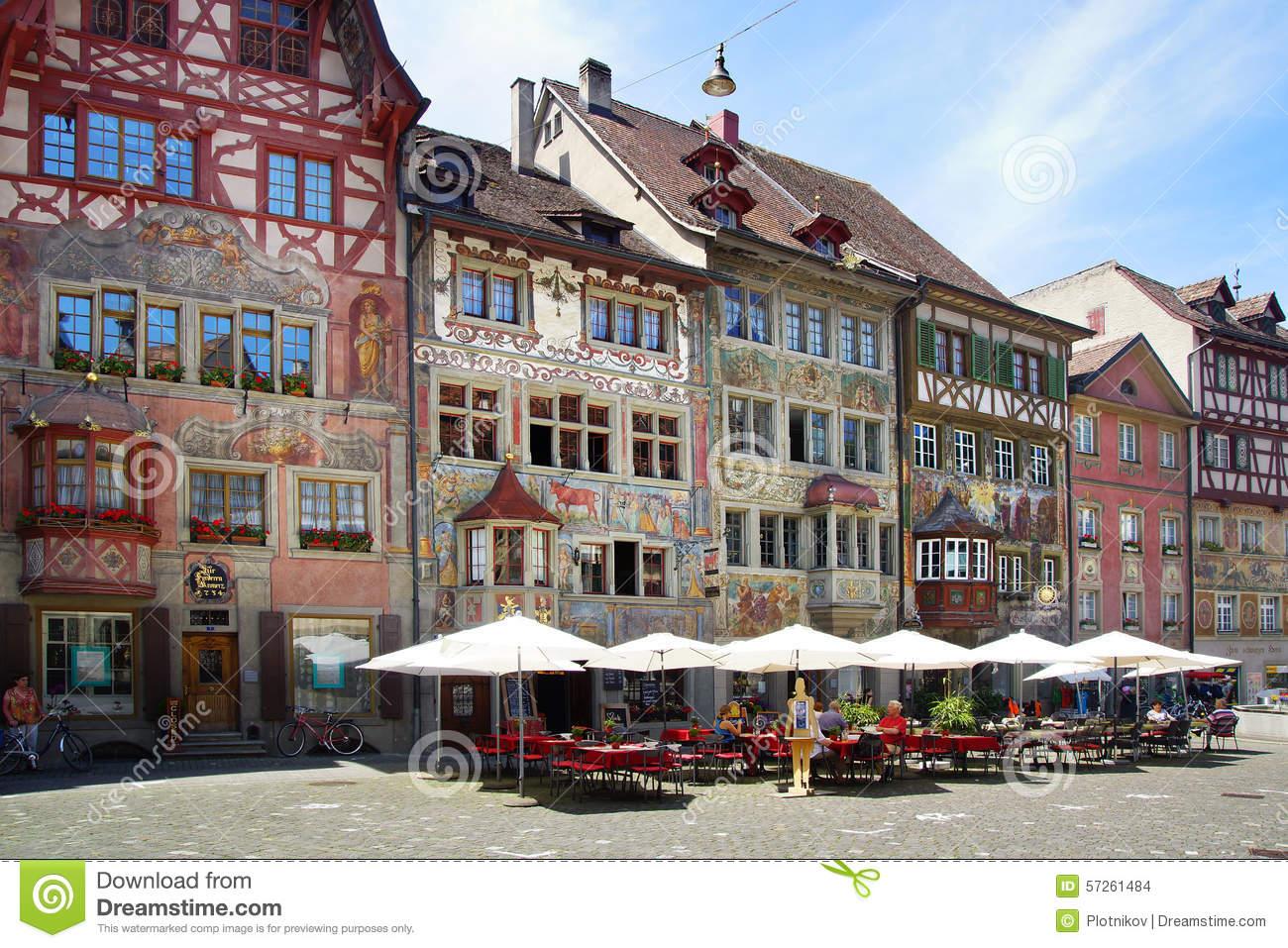 Medieval Town Centre. Stein Am Rhein Editorial Stock Image.