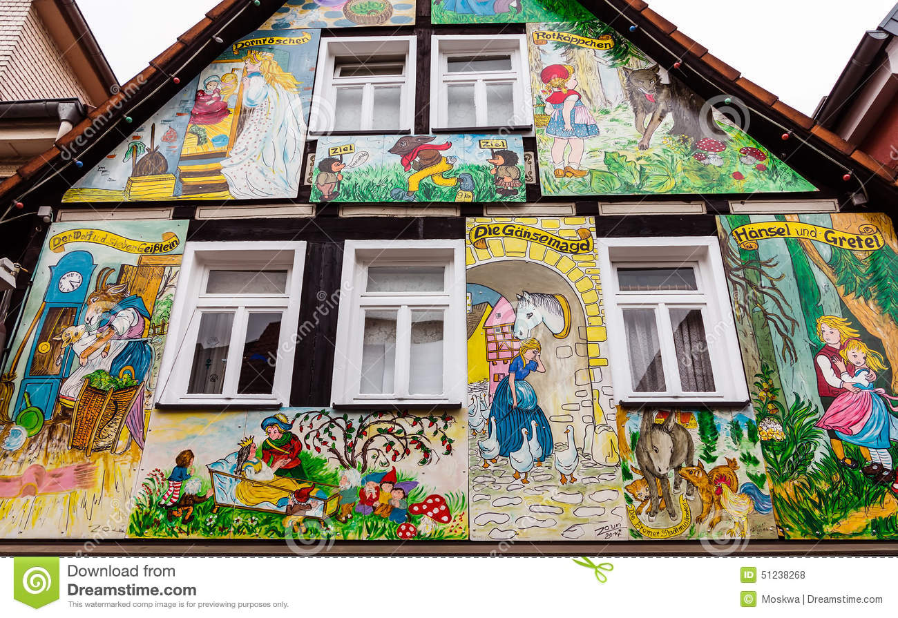 Painted House With Scenes From The Grimm Fairy Tales In Steinau An.