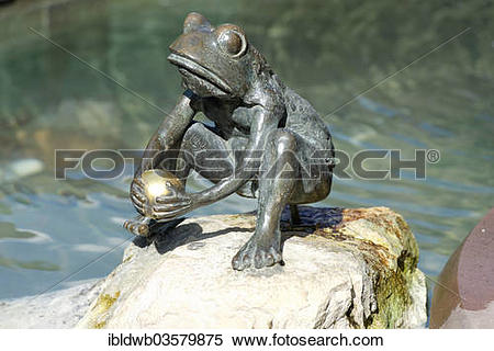 "Stock Image of ""Frog Prince, fairy tale fountain, Steinau an der."