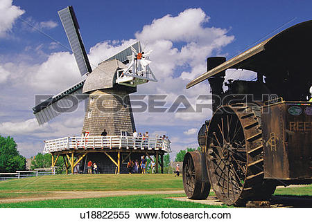 Stock Image of windmill, Steinbach Mennonite Museum, Manitoba.