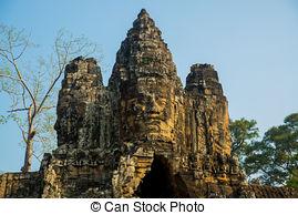 Stock Fotografie von uralt, kopf, Schnitzereien, Buddha, stein.
