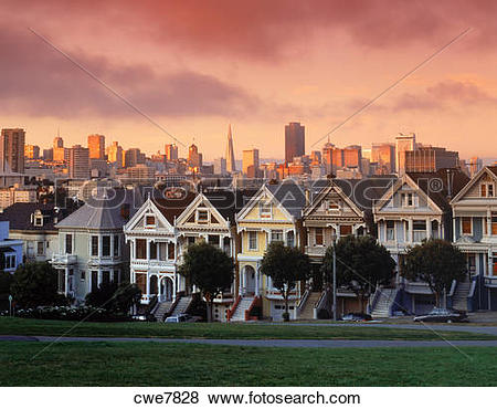 Pictures of Victorian Houses along Steiner Street at dusk with San.