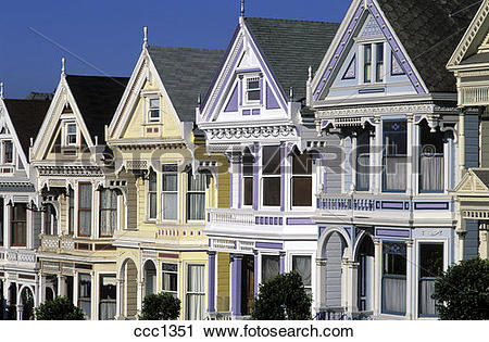 Stock Photography of USA San Francisco Row of Victorian houses on.