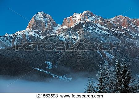 "Stock Photo of Mountain Range ""Steinernes Meer"" in Alps at Dawn."
