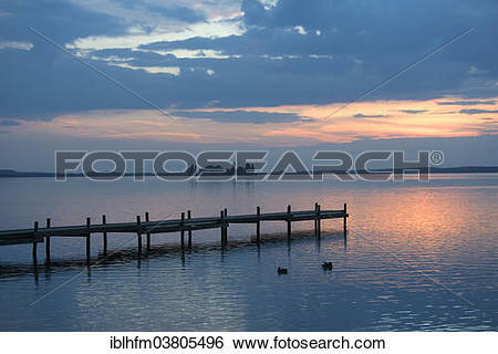 "Stock Images of ""Evening at Steinhuder Meer or Lake Steinhude."