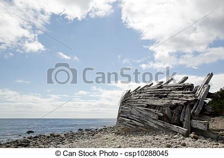 Stock Foto von hölzern, altes, schiffbruch, steinig, kueste.