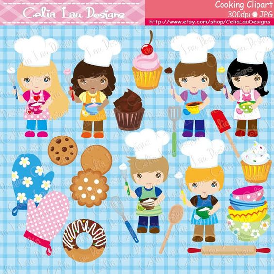 Cooking Clipart, Baking Clipart, Little Baker Cooking Invitation.