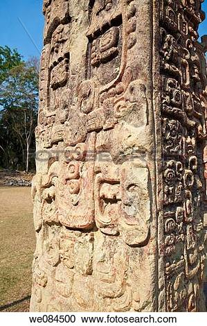 Stock Photography of Stela in the Great Plaza, Mayan ruins of.
