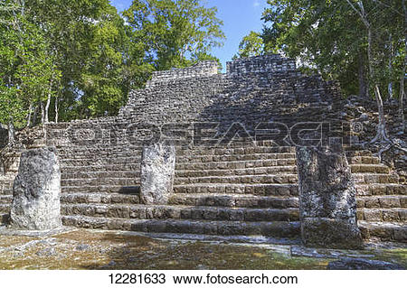 Stock Photo of Stela 88 on stairway of Structure 13, Calakmul.