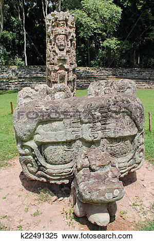 Stock Image of Stela F and its altar (carved in 721 AC) at the.