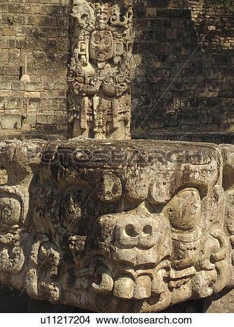 Stock Photo of carving, person, head, stelae, honduras, people.