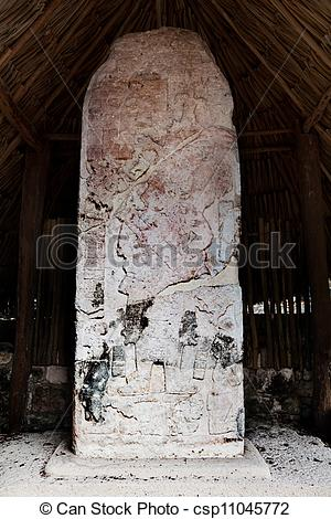 Picture of Carved Mayan stelae.