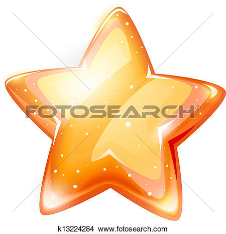 Clipart of magic gold glossy star isolated k13224284.