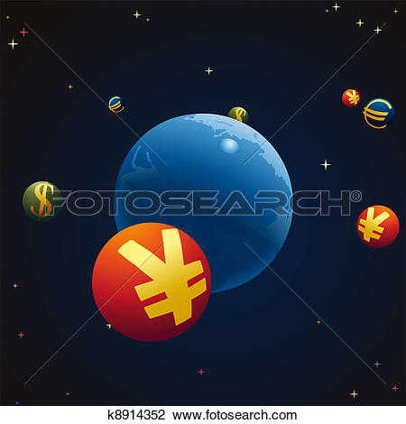 Clipart of Stellar sky with Earth and symbols k8914352.