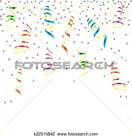 Clipart of Multicolor curling ribbons with stellar confetti.