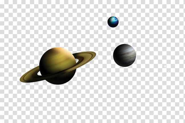 Planet Saturn, Jupiter, and Uranus illustration, Saturn.