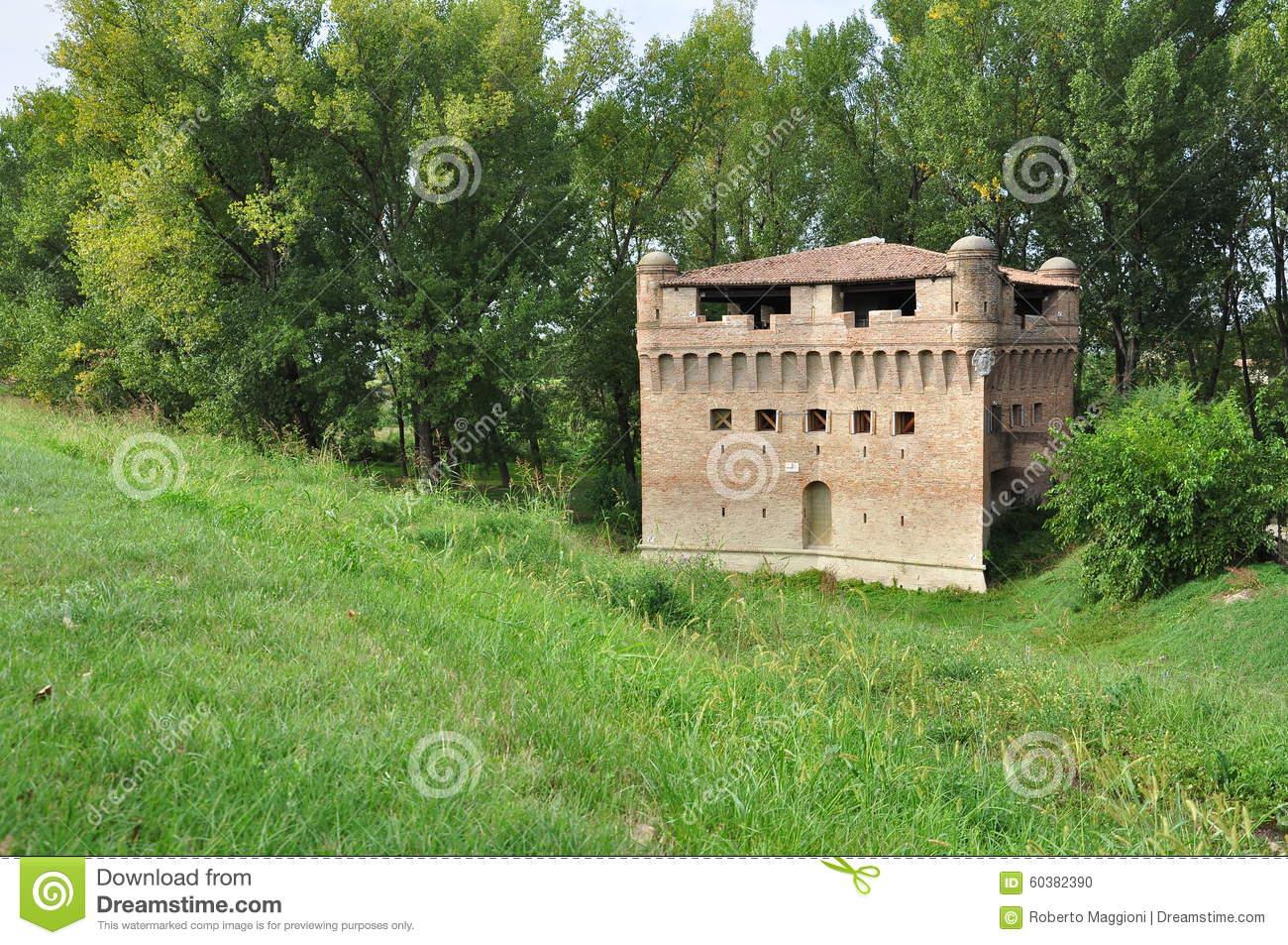 Rocca Di Stellata, Medieval Tower Po Plain In Lombardy Stock Photo.