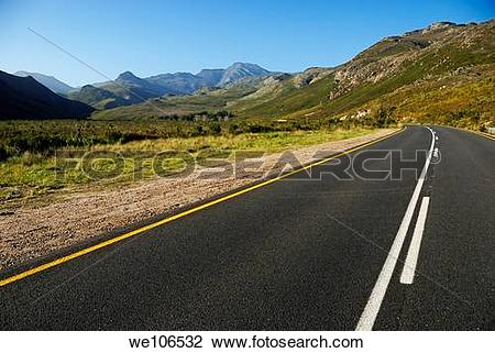 Stock Photo of Rural road in the mountains between Stellenbosch.