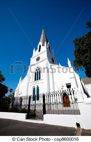 Stock Image of old church building in Stellenbosch, South Africa.