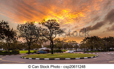 Stock Photo of Roundabout at Stellenbosch.