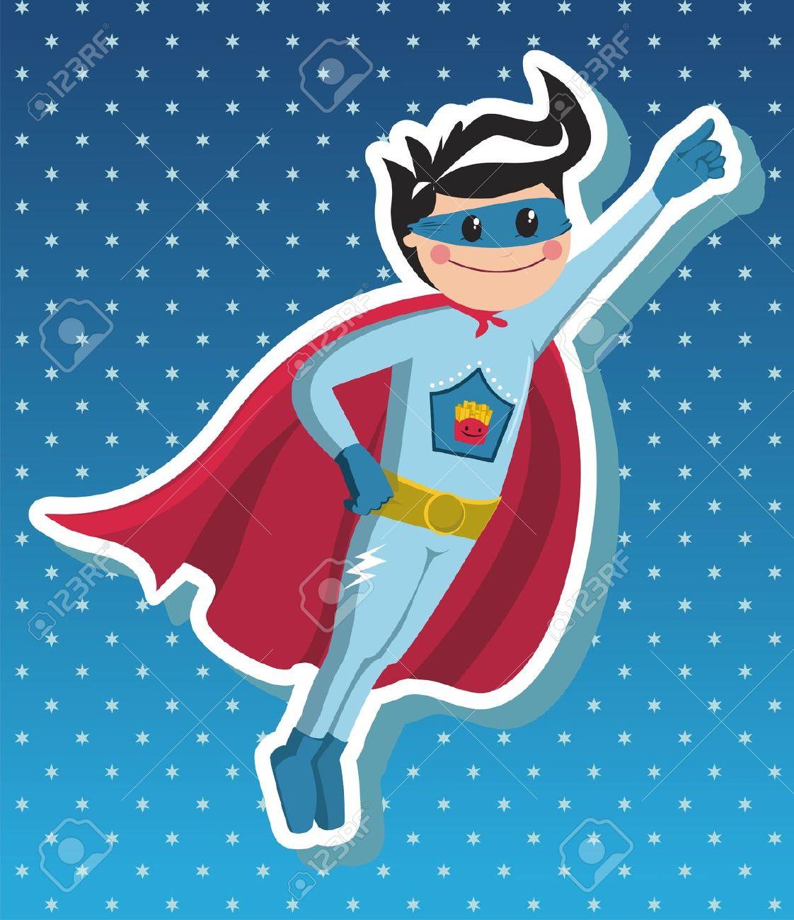 Boy Superhero Volare Su Sfondo Blu Con Stelline Clipart Royalty.