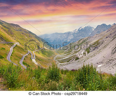 Stock Photo of View from a bird's eye of Stelvio High Alpine Road.