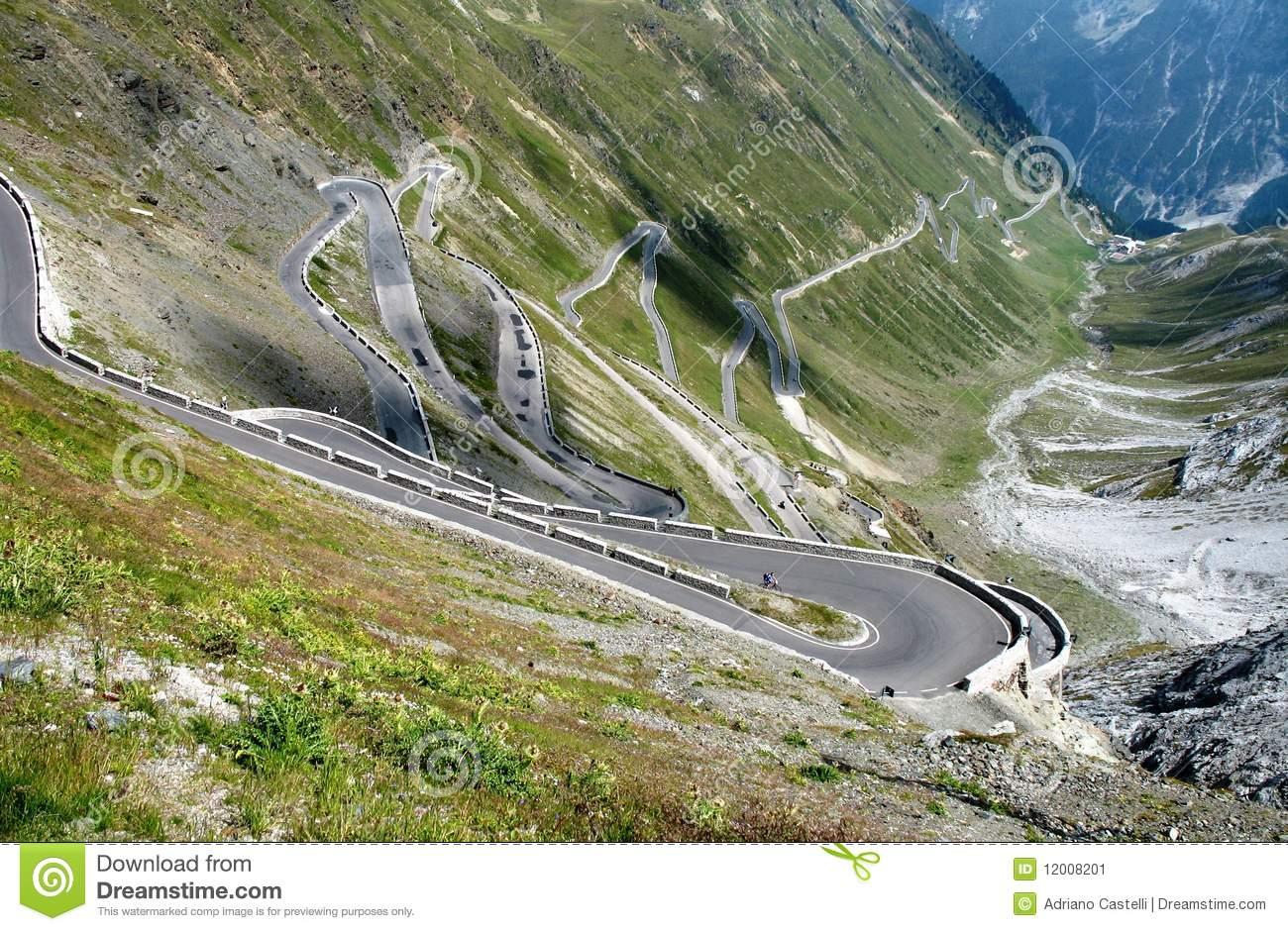 Road To Stelvio Mountain Pass Stock Image.