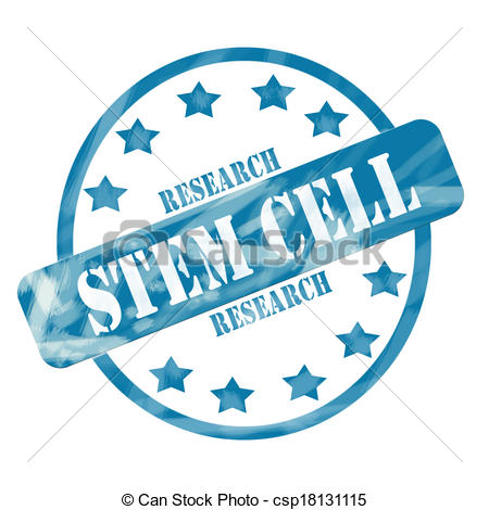 Clipart of Blue Weathered Stem Cell Research Stamp Circle and.