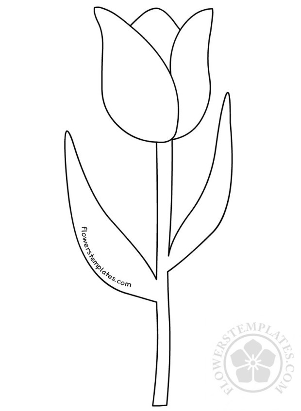 Tulip flower with stem Clipart black and white.