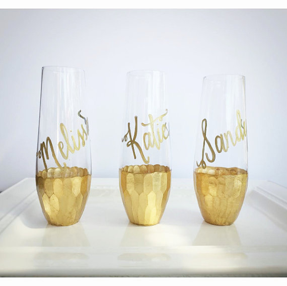 Gold Dipped Stemless Champagne Flutes GLASS Personalized.