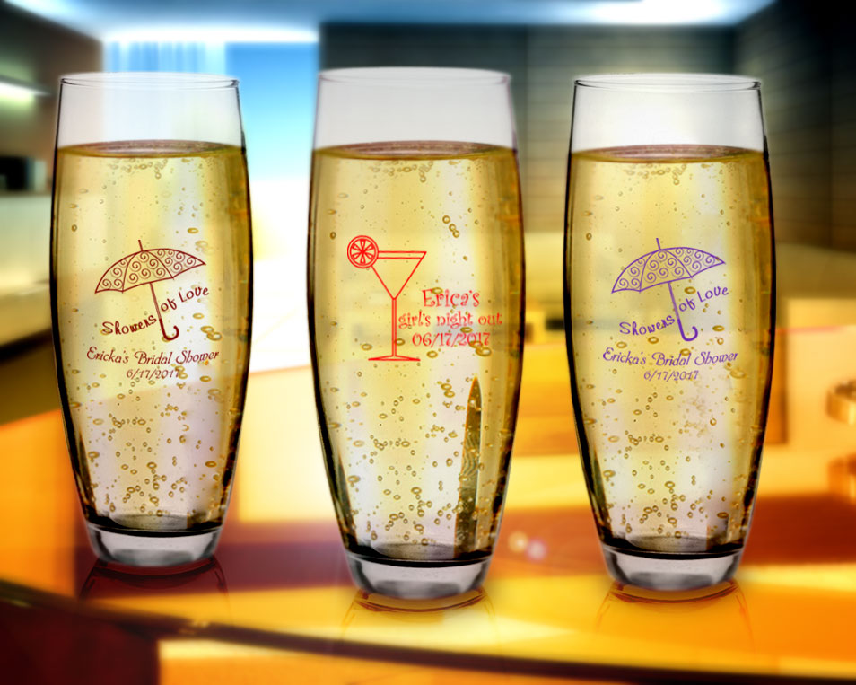 Personalized Stemless Champagne Flutes.
