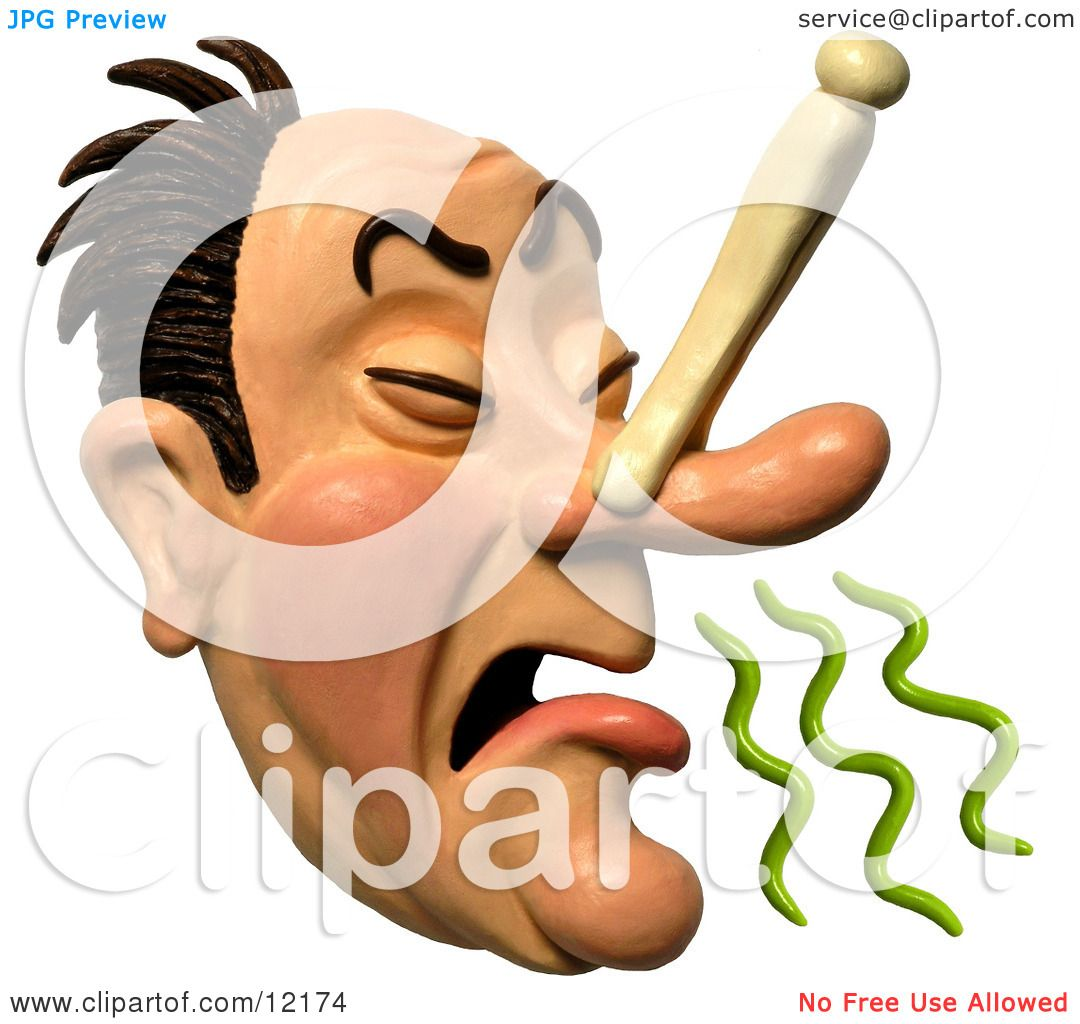 Clay Sculpture Clipart Disgusted Man Plugging His Nose To Avoid A.
